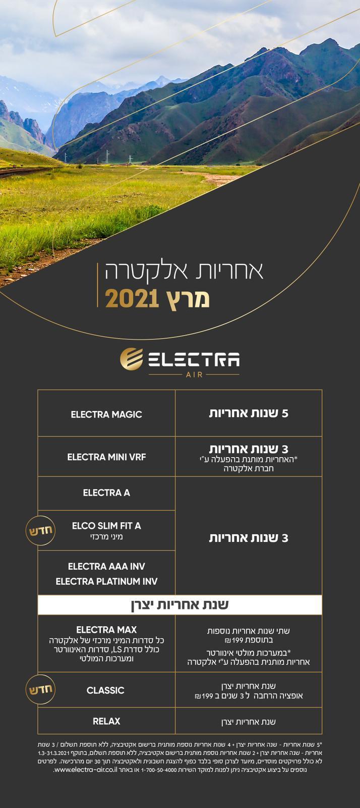 אחריות אלקטרה מרץ 2021